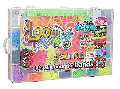 2500 looms Band Pieces Kit Box Rubber Loom Bands Board Bracelet Making Diy Set