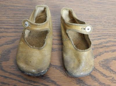 VTG Late 1800's-Early 1900's Leather Baby Shoes with Glass Buttons FREE SHIPPING