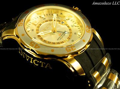 Invicta Men ProDiver Scuba Swiss GMT Silver Dial 18K Gold Plated Stainless Watch Invicta Gmt Watch