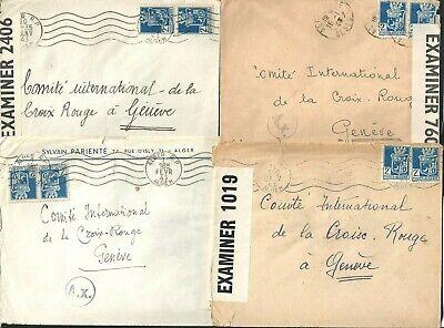 Four 1943 WW2 Covers Algeria to Committee International Geneve Switzerland