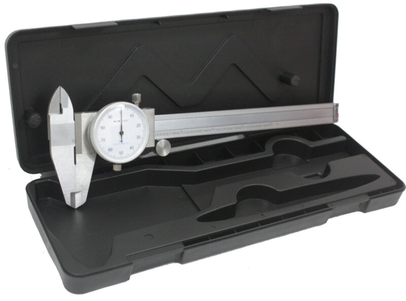 "6"" DIAL CALIPER STAINLESS STEEL SHOCKPROOF GAUGE .001"" OF ONE INCH. FREE SHIP US"