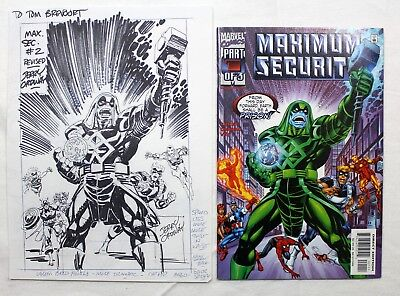 Original Art Maximum Security  #2 Revised Cover Prelim by Jerry Ordway Signed