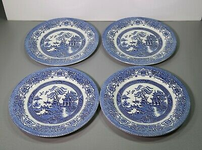 English Blue Willow - Four Blue Willow Dinner Plates Border B 10 3/8