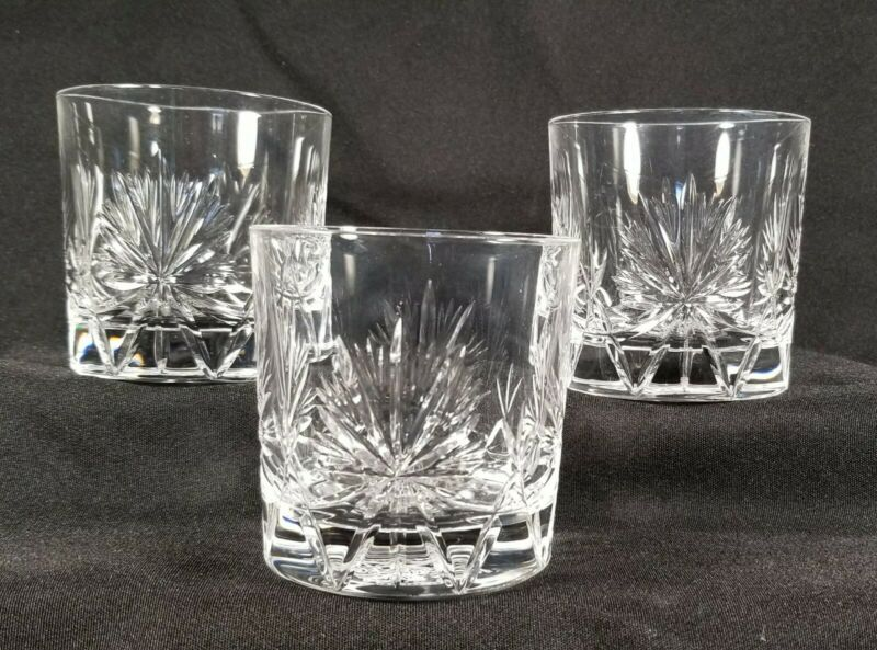 Vtg 1964 Edinburgh Crystal 3 1/4 In Whiskey Tumblers  Dewar Highlander Set Of 3