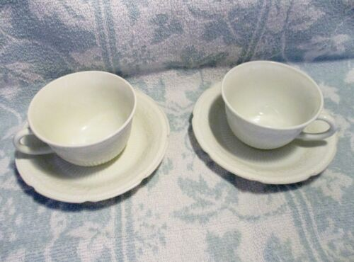 Vintage Fire King / AH White Alice Cups & Saucers x 2 in Excellent Condition