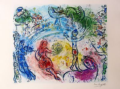 """MARC CHAGALL """"LE CIRQUE"""" Facsimile Signed & Numbered Lithograph CIRCUS"""