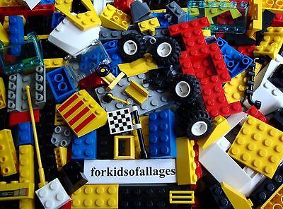 Bulk Lego Lot: 100 Mixed Pieces Car Parts Wheels / Tires Bricks Blocks Plates +