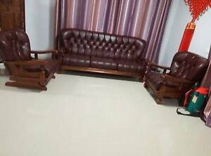 2 single, 3 person genuine leather wood Lounge Suite Coombs Molonglo Valley Preview