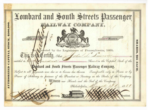 Lombard and South Streets Passenger Railway Company. Stock Certificate