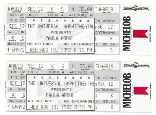 (2) PAULA ABDUL 1992 Under My Spell Concert Tour TICKETS Los Angeles CA SINGER