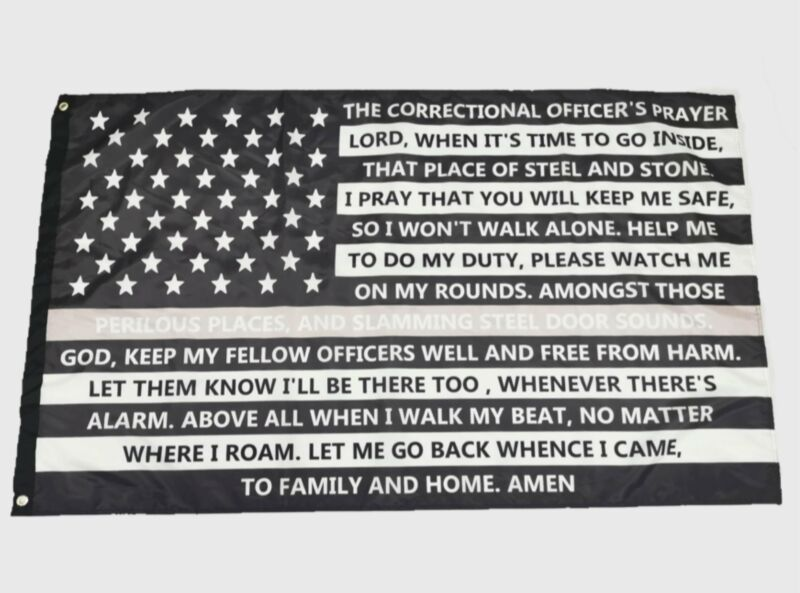Correctional Officer Thin Gray Line Flag-Correctional Officer Prayer Flag
