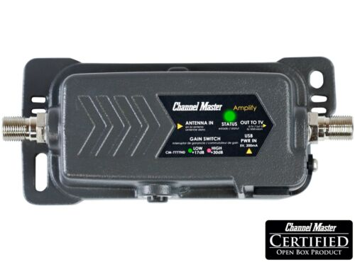 Channel Master Amplify Adjustable Gain Preamplifier TV Antenna Amplifier 7777HD