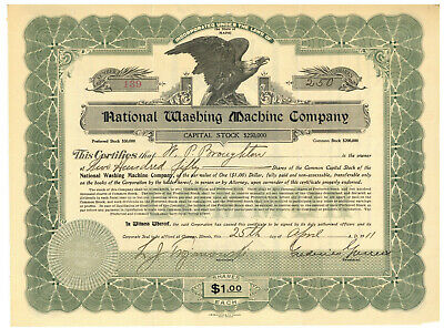 Used, National Washing Machine Company. Stock Certificate. Maine. 1911 for sale  Shipping to Nigeria