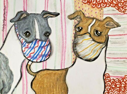 Italian Greyhound in Masks Art Signed by Artist KSams Original Painting 9x12 Dog