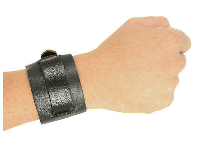 Punk Gothic Steampunk Jedi Halloween Costume Adjustable Black Leather Wristband