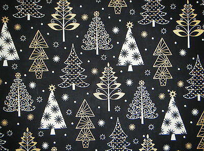 CHRISTMAS VALANCE CURTAIN GOLD METALLIC & WHITE TREES ON BLACK BACKGROUND](Gold Metallic Curtains)