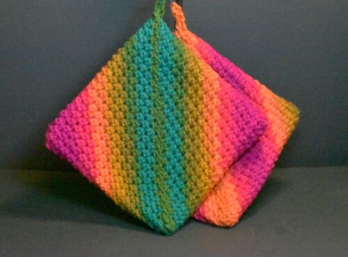 """Hand Crocheted Double Thick Hot Pad Pot Holder Pair """"Groovy"""" orange pink green"""