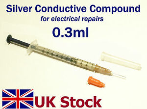 0.3ml Silver Conductive Compound Paint Glue Paste for electrical repairs - UK