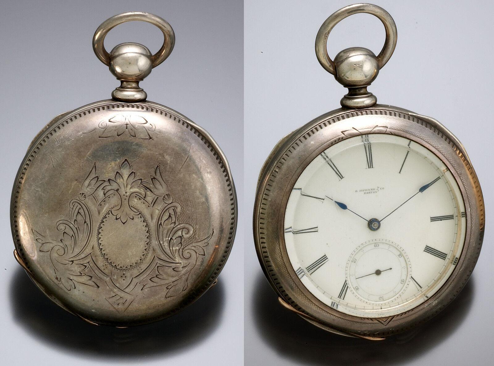 SERIES II HOWARD POCKET WATCH IN 4 OZ COIN SILVER CASE WITH FOLIATE PATTERN 1861