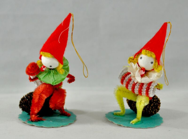 Vintage Christmas Pinecone Elf Gnome Lot of Two