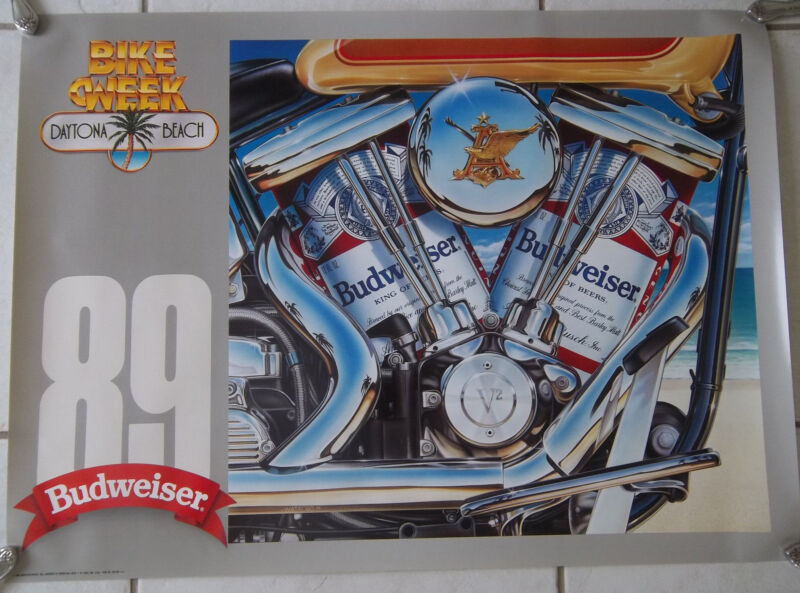 1989 Vintage Daytona Beach Bike Week Budweiser Poster, Harley engine