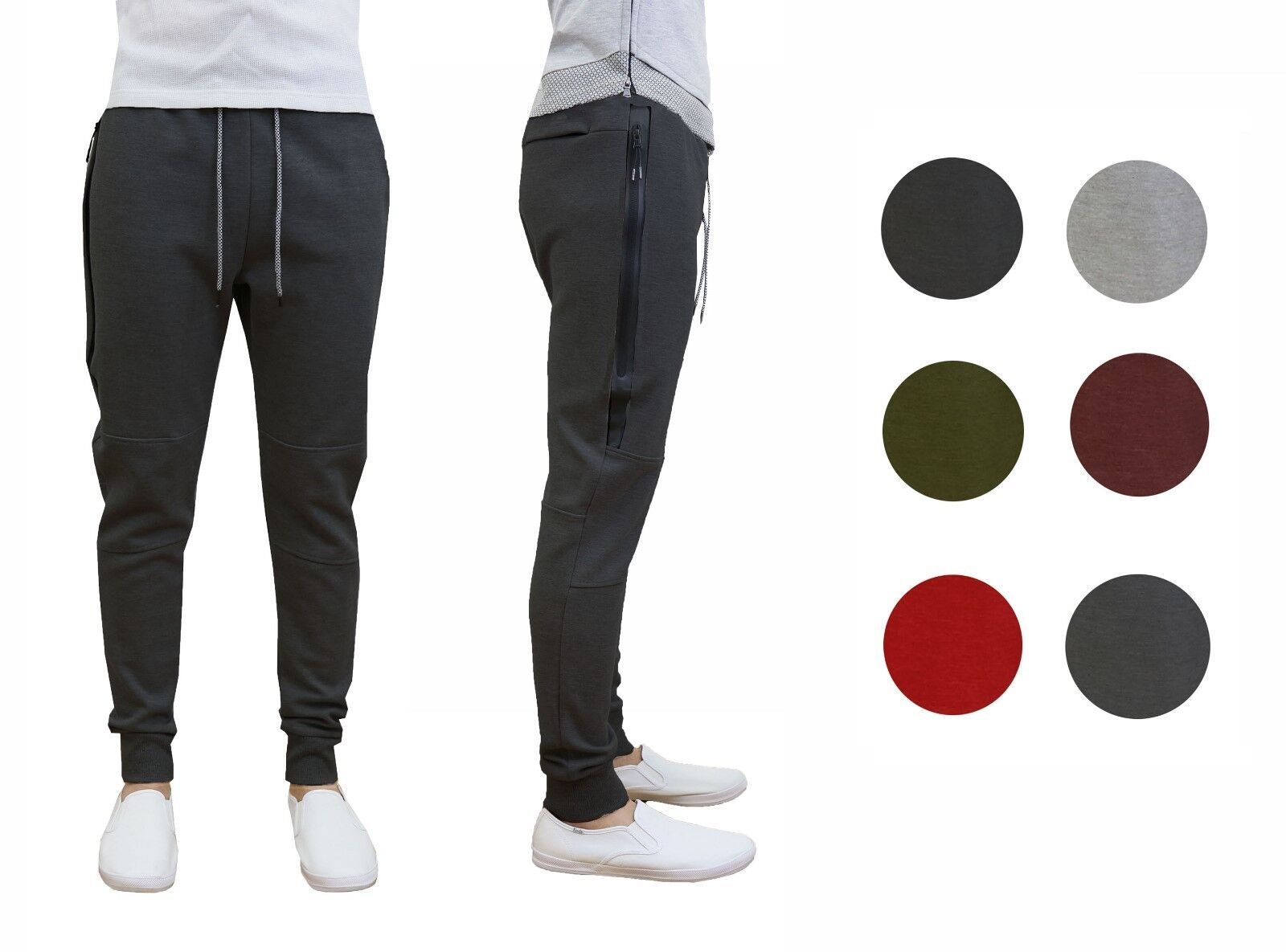 Mens Tech Fleece Joggers Active Performance Pants – Slim Fit *FREE SHIPPING* NWT Clothing, Shoes & Accessories