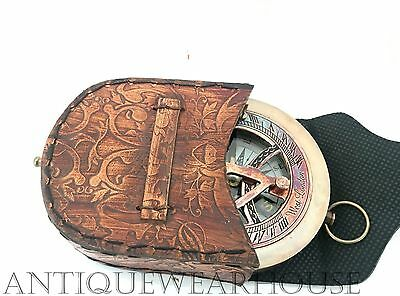 Nautical Astrolabe Antique Brass Working Compass With Leather Case Vintage Decor