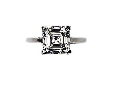 925 Silver Solitaire Square Asscher Cut 4.0 Carat Engagement Wedding Ring (Solitaire Engagement Wedding Ring)