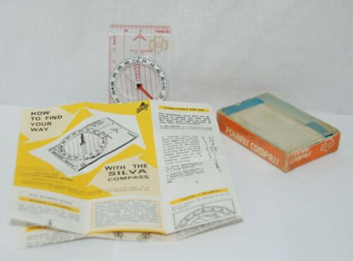 Vtg Girl Scouts Compass Type 7 NL by Silva System w/Original Box & Instructions