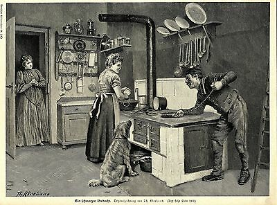 Th.Kleehaas ( Ein schwarzer Verdacht ) Schornsteinfeger Holzstich um 1897