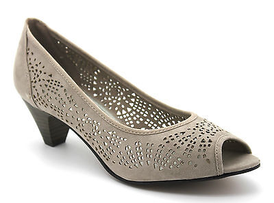 Marco Tozzi Women's UK 5 EU 38 Taupe Faux Suede Cut Out Peep Toe Mid Heel Shoes