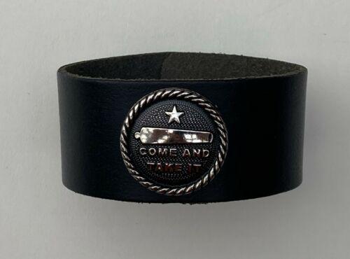 COME & TAKE IT Black LEATHER BRACELET Concho WRIST BAND CUFF 2nd Amendment Right