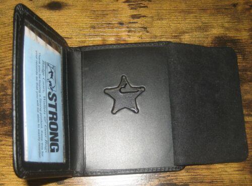 Mini Star Police Sheriff Fire Badge Black Leather ID Wallet Case - Shape 1857
