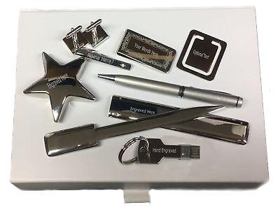 Gemelli USB Soldi Clip Penna Scatola Set Regalo Incrociati Hockey Mazze Sport
