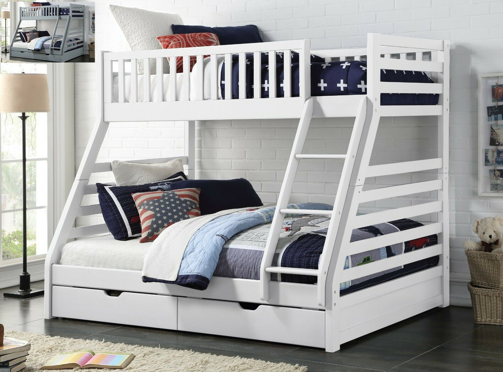 Details About Maine Triple Sleeper Bunk Bed Frame Solid Wood 2 Storage Drawers Various Colours