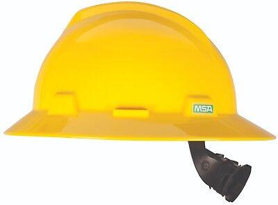 Msa V Gard Full Brim Hard Hat With Fas Trac Ratchet Suspension  Yellow