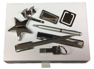 Clip Gemelos USB Clip Dinero Pluma Set Regalo Caja Pin Plata Cuadrado