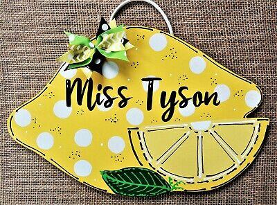 Personalize LEMON Teacher SIGN Plaque School Class Classroom Wall Door Hanger (Classroom Door)