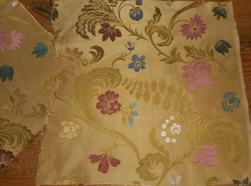 2 Antique 19thc French Floral Silk Brocade Jacquard Fabric ~ Blue Bordeaux Gold