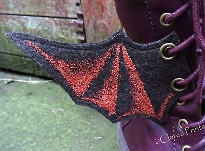 Steampunk Boot Wings Fabric Bat Goth Shoe Accessory Eyelets Brown Copper Cosplay](Brown Bat Costume)