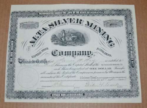 The Alta Silver Mining Company 1882 antique stock certificate