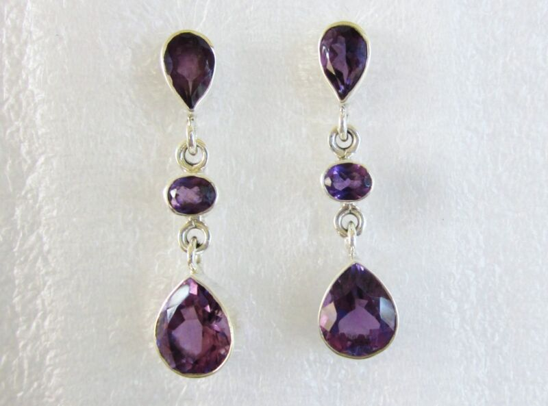 Amethyst Dangle Earrings in 925 Sterling Silver -- 6.74cts