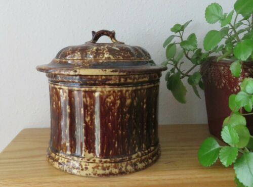 Antique Rockingham Bennington Covered Storage Jar