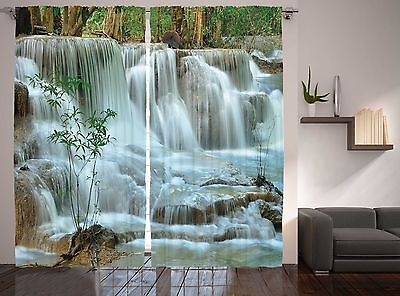 (Nature Collection Zen Garden Decor Waterfall Scene and Bambo Curtain 2 Panel Set)