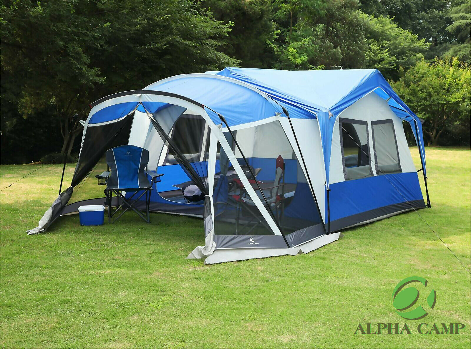 ALPHA CAMP 10-12 Person Family Camping Tent Screen Room Cabi