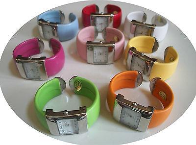 - Designer Style Assorted Color Leather Cuff Quartz Wrist Fashion Women's Watch