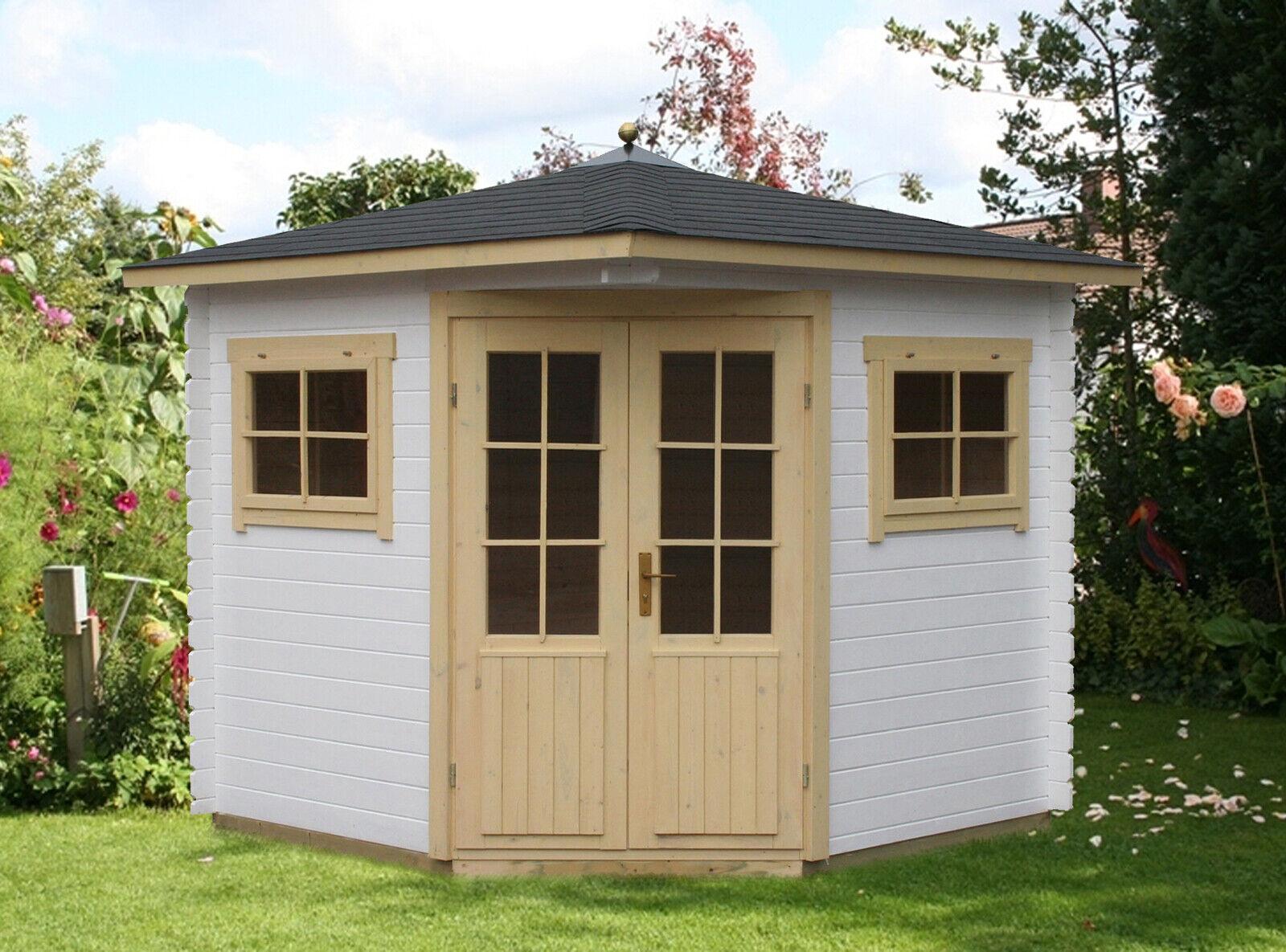 5-Eck Gartenhaus Sunny-A Holz 200x200 cm 28 mm Spitzdach Blockhaus Gerätehaus