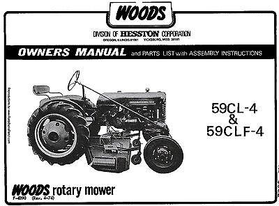 Woods Belly Mower 59cl-4 59clf-4 Operators Manual Fits Farmall Cub