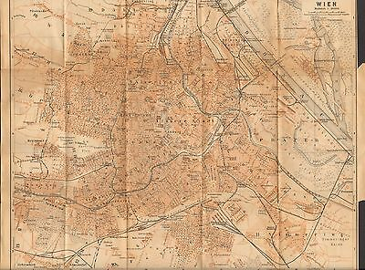 1900  ANTIQUE MAP-AUSTRIA- 2 PLANS, VIENNA AND CENTRAL VIENNA,