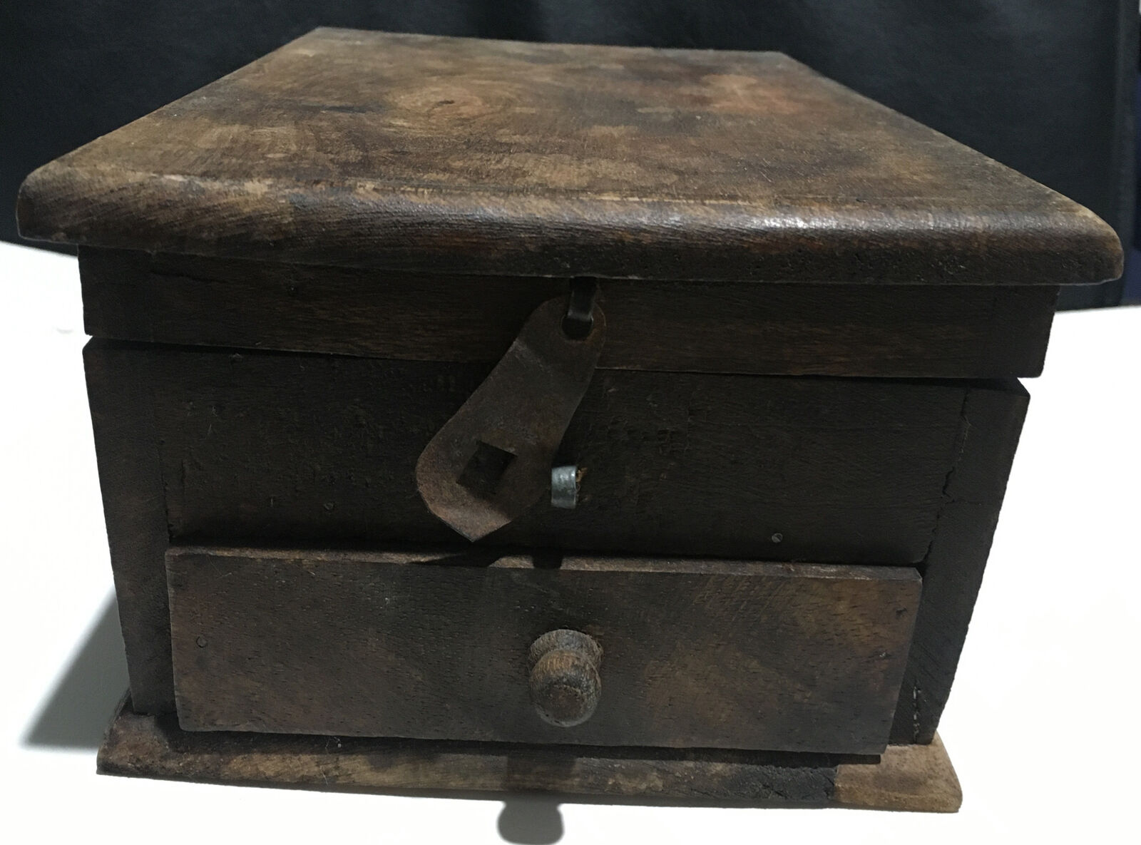 Asian Indian Vintage Hand Made Unique Wooden Spice Masala Powder Box With Drawer